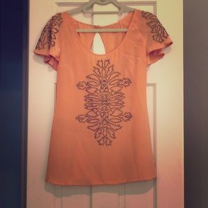 Tracy Reese coral embroidered top